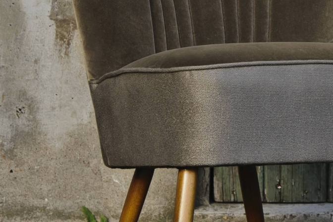 cocktail fauteuil vintage leem velours